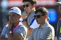 Matt Fitzpatrick (ENG) watches on as Danny Willett (ENG)(Team Europe) on the 9th during Saturday afternoon Fourball at the Ryder Cup, Hazeltine National Golf Club, Chaska, Minnesota, USA.  01/10/2016<br /> Picture: Golffile | Fran Caffrey<br /> <br /> <br /> All photo usage must carry mandatory copyright credit (&copy; Golffile | Fran Caffrey)