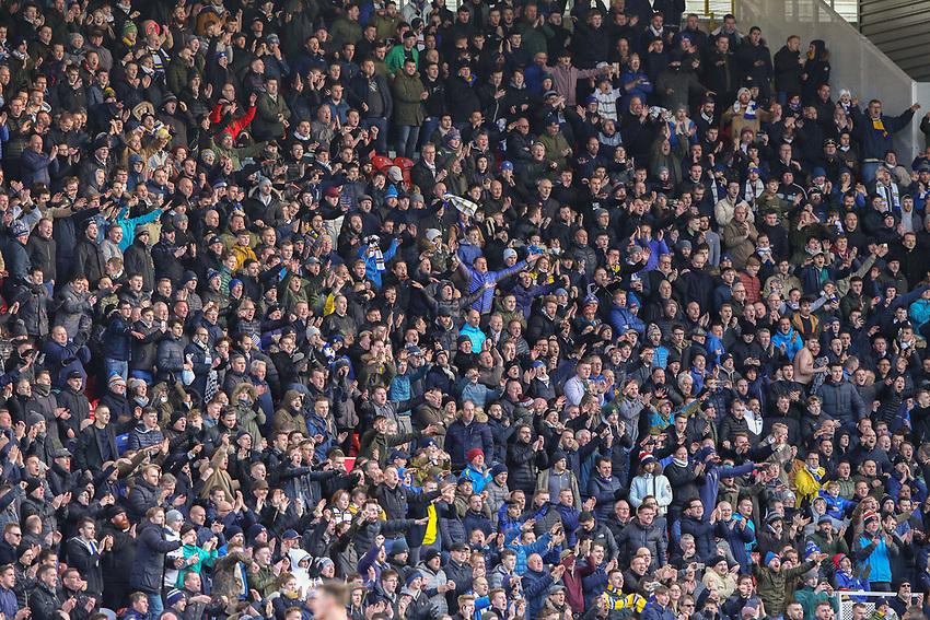 Leeds United fans celebrate the late equaliser<br /> <br /> Photographer Alex Dodd/CameraSport<br /> <br /> The EFL Sky Bet Championship - Middlesbrough v Leeds United - Saturday 9th February 2019 - Riverside Stadium - Middlesbrough<br /> <br /> World Copyright © 2019 CameraSport. All rights reserved. 43 Linden Ave. Countesthorpe. Leicester. England. LE8 5PG - Tel: +44 (0) 116 277 4147 - admin@camerasport.com - www.camerasport.com