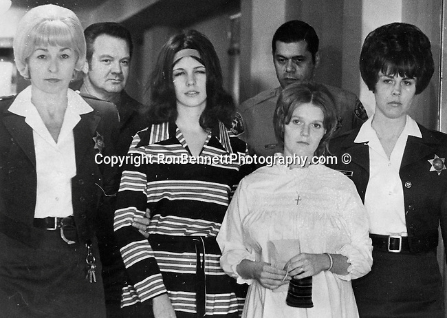 Manson Family walk to court on trail for Tate LaBianca Murders, Manson Family on way to court, Charles Manson American Criminal known as the Manson Family a quasi-commune in Los Angeles California 1960'S found guilty of the conspiracy to commit the Tate/LaBianca murders, Helter Skelter the term from Beatles song,  Manson Family, Tate LaBianca Murders carried out by Manson Family,