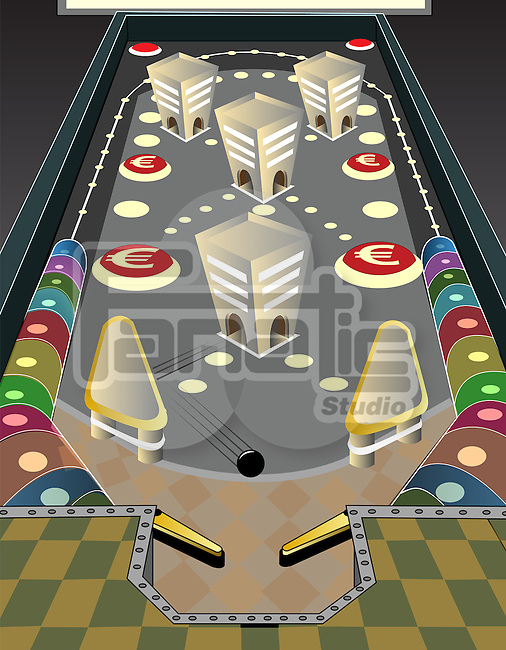 Game of pinball with euro sign depicting the concept of business gaming