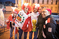 YEKATERINBURG, RUSSIA - June 21, 2018: Peru fans pose for a photo after his team lost against France during a 2018 FIFA World Cup group stage at Yekaterinburg Arena Stadium.