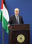 Palestinian Prime Minister Rami Hamdallah speaks during a meeting about donor countries in Palestine, at his office in the West Bank city of Ramallah, on May 24, 2017. Photo by Prime Minister Office