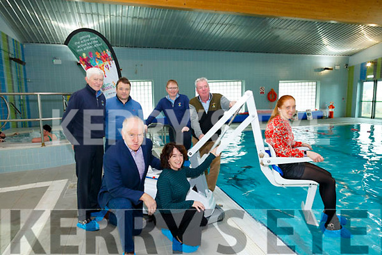 Unveiling : Pictured at the unveiling of new hoist and treadmills at the Ballybunion Community Centre on 8th January were Jimmy Deenihan, Chair KRSP,  Niamh O'Sullivan, Chief Officer KRSP & Patrice Diggin, Kerry Sports Parnership. Back : Jackie Hourigan, Kevin O'Callaghan, Greg Ryan & Padraig Hanrahan