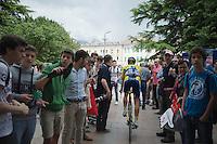 Juul-Jensen Christopher (NOR/Tinkoff-Saxo) finding his way to the start through the crowds<br /> <br /> 2014 Giro d'Italia<br /> stage 18: Belluno - Rifugio Panarotta (Valsugana), 171km