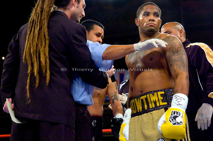 Curtis &quot;Showtime&quot; Stevens in the ring shortly before the start of his Super Middleweight 8 rounds fight against Jonathan Corn at the Manhattan center in N.Y.C on 12.14.2006..Stevens won by 2nd round TKO.<br />