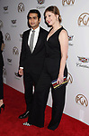 BEVERLY HILLS, CA - JANUARY 20: Actor Kumail Nanjiani (L) and producer/writer Emily V. Gordon attend the 29th Annual Producers Guild Awards at The Beverly Hilton Hotel on January 20, 2018 in Beverly Hills, California.