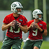 Josh McCown #15, left, and Bryce Petty #9, New York Jets quarterbacks, drop back for passes during the first team practice of training camp at the Atlantic Health Jets Training Center in Florham Park, NJ on Saturday, July 29, 2017.