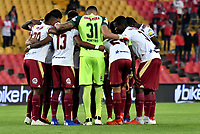 BOGOTÁ-COLOMBIA, 09-02-2019: Jugadores de Deportes Tolima antes de partido de la fecha 4 entre Independiente Santa Fe y Deportes Tolima, por la Liga Aguila I 2019, en el estadio Nemesio Camacho El Campin de la ciudad de Bogotá. / Players of Deportes Tolima prior a match of the 4th date between Independiente Santa Fe and Deportes Tolima, for the Liga Aguila I 2019 at the Nemesio Camacho El Campin Stadium in Bogota city, Photo: VizzorImage / Luis Ramírez / Staff.