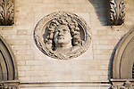 King George 1 Royal roundel portraits on Great Eastern hotel building Harwich, Essex, England