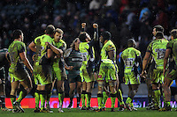 Danny Cipriani of Sale Sharks raises his arms in celebration at the final whistle. Aviva Premiership match, between Leicester Tigers and Sale Sharks on February 6, 2016 at Welford Road in Leicester, England. Photo by: Patrick Khachfe / JMP