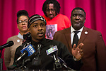 SACRAMENTO, CALIFORNIA - MARCH 3, 2019: Stevante Clark, brother of Stephon Clark, condemns the release of personal information, including texts sent the day before he was shot by Sacramento police officers in 2018, during a press conference at Genesis Church. The Sacramento Count District Attorney Anne Marie Schubert announced Saturday that the officers would not be charged in Clark's death. CREDIT: Max Whittaker for The New York Times
