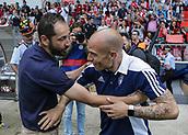 June 4th 2017, Estadi Montilivi,  Girona, Catalonia, Spain; Spanish Segunda División Football, Girona versus Zaragoza; Lainez and Machin greet before the match;