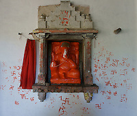Ganesha shrine inisde Shiva temple  in village below Fort Amber near Jaipur, Rajastan, India