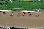 Animal Kingdom with John Velazquez aboard wins the 137th runnin of the Kentucky Derby. (#16 with red hat.  green silks and red inverted chevron)