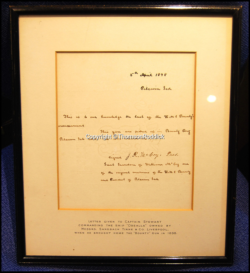 BNPS.co.uk (01202 558833)Pic: ThomsonRoddick/BNPS<br /> <br /> A letter of authenticity, given to Captain Stewart by the president of Pitcairn Island in 1898.<br /> <br /> A cannon from the doomed ship HMS Bounty has sold for £20,000 after being found on a Scottish estate.<br /> <br /> The valuable gun was salvaged from the vessel by the rebellious crew in the wake of the Mutiny on the Bounty 229 years ago.<br /> <br /> After casting their commander, Captain Bligh, adrift the crew set on fire and sunk the Bounty off Pitcairn Island in the Pacific Ocean.<br /> <br /> It was sold by Dumfries-based auctioneer Thomson Riddick who said its discovery meant the whereabouts of all four cannons on the Bounty were finally now known.