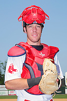 Lowell Spinners catcher Austin Rei (29) poses for a photo prior to a game versus the Mahoning Valley Scrappers at Lelacheur Park on July 12, 2015 in Lowell, Massachusetts. (Ken Babbitt/Four Seam Images)