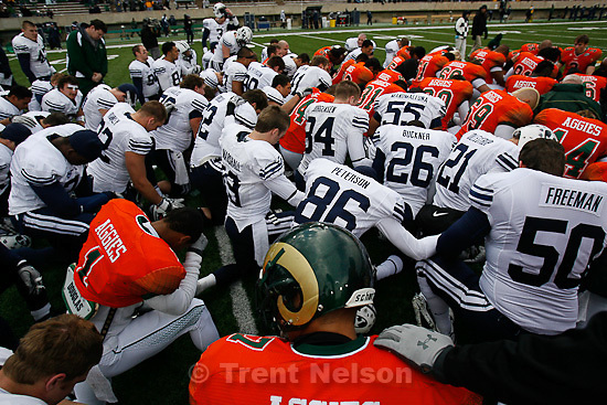 Trent Nelson  |  The Salt Lake Tribune.BYU players join Colorado State players for a post-game prayer. BYU vs. Colorado State, college football, Saturday, November 13, 2010. BYU won 49-10.