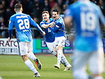 Dundee v St Johnstone&hellip;29.12.18&hellip;   Dens Park    SPFL<br />Scott Tanser celebrates his goal with Liam Craig<br />Picture by Graeme Hart. <br />Copyright Perthshire Picture Agency<br />Tel: 01738 623350  Mobile: 07990 594431