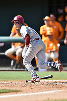 South Carolina Gamecocks center fielder LT Tolbert (11) runs to first base during a game against the Tennessee Volunteers at Lindsey Nelson Stadium on March 18, 2017 in Knoxville, Tennessee. The Gamecocks defeated Volunteers 6-5. (Tony Farlow/Four Seam Images)