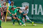 07.07.2019, Parkstadion, Zell am Ziller, AUT, PSP SV WERDER BREMEN vs WSG SWAROVSKI TIROL<br /> <br /> im Bild / picture shows <br /> <br /> <br /> FLORIAN MADER (WSG Tirol #42)<br /> Fin Bartels (Werder Bremen #22)<br /> Benjamin Goller (Neuzugang Werder Bremen #39)<br /> <br /> Foto © nordphoto / Kokenge