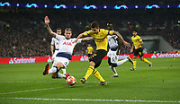 Christian Pulisic of Borussia Dortmund with a first half shot<br /> <br /> Photographer Rob Newell/CameraSport<br /> <br /> UEFA Champions League Round of 16 First Leg - Tottenham Hotspur v Borussia Dortmund - Wednesday 13th February 2019 - Wembley Stadium - London<br />  <br /> World Copyright © 2018 CameraSport. All rights reserved. 43 Linden Ave. Countesthorpe. Leicester. England. LE8 5PG - Tel: +44 (0) 116 277 4147 - admin@camerasport.com - www.camerasport.com
