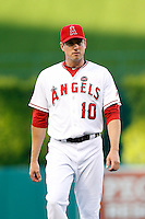 Brad Hawpe #10 of the Los Angeles Angels before a game against the Pittsburgh Pirates at Angel Stadium on June 21, 2013 in Anaheim, California. (Larry Goren/Four Seam Images)