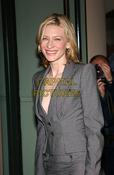 CATE BLANCHETT.77th Annual Academy Award Nominees Luncheon held at the Beverly Hilton Hotel. Beverly Hills, California .February 7th, 2005.Photo Credit: Jacqui Wong/AdMedia.half length, gray, grey suit jacket plunging neckine cleavage.www.capitalpictures.com.sales@capitalpictures.com.© Capital Pictures.