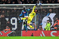 Liverpool's Alisson Becker saves under pressure from Napoli's Kalidou Koulibaly<br /> <br /> Photographer Richard Martin-Roberts/CameraSport<br /> <br /> UEFA Champions League Group C - Liverpool v Napoli - Tuesday 11th December 2018 - Anfield - Liverpool<br />  <br /> World Copyright © 2018 CameraSport. All rights reserved. 43 Linden Ave. Countesthorpe. Leicester. England. LE8 5PG - Tel: +44 (0) 116 277 4147 - admin@camerasport.com - www.camerasport.com