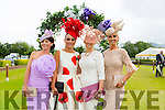 l-r Edel Crowley, Kenmare, Tasha O'Connor,Templeglantine, Elaine Kelleher, Kilgarvan and Eva Hayes Morrissey, Limerick the finalists in the best Dressed lady competition on Ladies Day at Killarney Races on Thursday