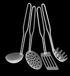 X-ray image of cooking utensils (white on black) by Jim Wehtje, specialist in x-ray art and design images.