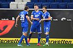 Torjubel nach dem 2-0: Robert Skov (Hoffenheim), Pavel Kaderabek (Hoffenheim) und Torschuetze Christoph Baumgartner (Hoffenheim).<br /> <br /> Sport: Fussball: 1. Bundesliga: Saison 19/20: 28. Spieltag: TSG 1899 Hoffenheim - 1. FC Koeln, 27.05.2020<br /> <br /> Foto: Markus Gilliar/GES/POOL/PIX-Sportfotos.<br /> <br /> Nur für journalistische Zwecke! Only for editorial use!<br /> <br /> Gemäß den Vorgaben der DFL Deutsche Fußball Liga ist es untersagt, in dem Stadion und/oder vom Spiel angefertigte Fotoaufnahmen in Form von Sequenzbildern und/oder videoähnlichen Fotostrecken zu verwerten bzw. verwerten zu lassen. DFL regulations prohibit any use of photographs as image sequences and/or quasi-video.