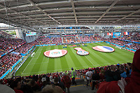 YEKATERINBURG, RUSSIA - June 21, 2018:  The national anthems are played before the Peru vs. France  2018 FIFA World Cup group stage at Yekaterinburg Arena Stadium.