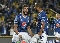 BOGOTA - COLOMBIA, 03-02-2019: Matias De Los Santos (Izq) de Millonarios celebra después de anotar el segundo gol de su equipo durante partido por la fecha 3 de la Liga Águila I 2019 entre Millonarios y Atlético Bucaramanga jugado en el estadio Nemesio Camacho El Campin de la ciudad de Bogotá. / Matias De Los Santos (L) of Millonarios celebrates after scoring the second goal of his team during match for the date 3 of the Liga Aguila I 2019 between Millonarios and Atletico Bucaramanga played at the Nemesio Camacho El Campin Stadium in Bogota city. Photo: VizzorImage / Gabriel Aponte / Staff.