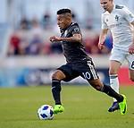 Real Salt Lake forward Joao Plata (10) moves the ball past Colorado Rapids midfielder Johan Blomberg (8) in the first half Saturday, April 21, 2018, during the Major League Soccer game at Rio Tiinto Stadium in Sandy, Utah. RSL beat the Colorado Rapids 3-0. (© 2018 Douglas C. Pizac)