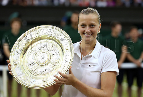 05.07.2014. Wimbledon, London England.  Czech Republics  Petra Kvitova poses with the trophy during the awards ceremony after the womens singles final match against Canadas Eugenie Bouchard at the 2014 Wimbledon Championships in Wimbledon, southwest London, on July 5, 2014.