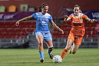 Bridgeview, IL - Saturday July 23, 2016:  Chicago Red Stars midfielder Danielle Colaprico (24) and Houston Dash forward Kealia Ohai (7) during a regular season National Women's Soccer League (NWSL) match between the Chicago Red Stars and the Houston Dash at Toyota Park.