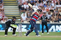 England's Eoin Morgan hits a six. New Zealand Blackcaps v England. Tri-Series International Twenty20 cricket. Seddon Park, Hamilton, New Zealand on Sunday 18 February 2018.<br /> <br /> Copyright photo: &copy; Bruce Lim / www.photosport.nz