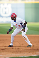 Rudy Reyes Erise (10) of the Cuban National Team takes his lead off of first base against the US Collegiate National Team at BB&T BallPark on July 4, 2015 in Charlotte, North Carolina.  The United State Collegiate National Team defeated the Cuban National Team 11-1.  (Brian Westerholt/Four Seam Images)