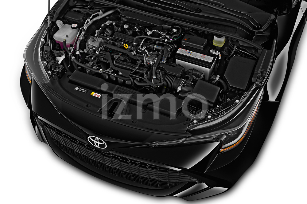 Car Stock 2019 Toyota Corolla SE 5 Door Hatchback Engine  high angle detail view