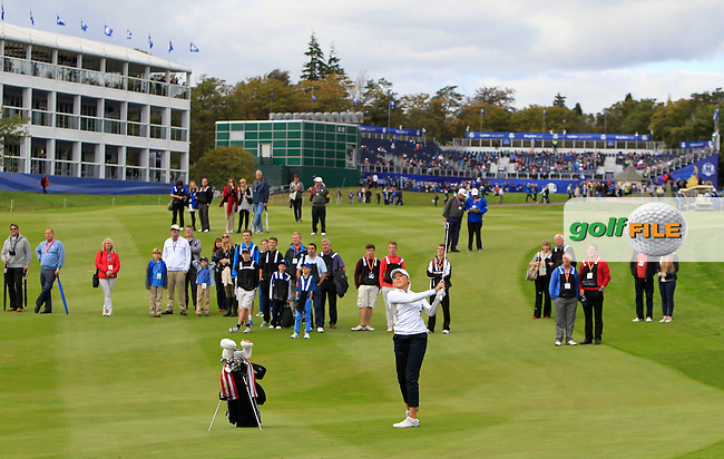 Sierra Brooks (USA) during Practice on Wednesday at the 40th Ryder Cup, The Gleneagles Hotel, Perthshire from 26th to 28th September 2014<br /> Picture Thos Caffrey, www.golffile.ie