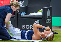 Rosmalen, Netherlands, 16 June, 2019, Tennis, Libema Open, Kiki Bertens (NED) is being treated for an injury<br /> Photo: Henk Koster/tennisimages.com