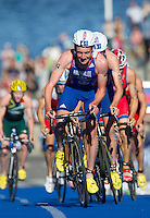 25 AUG 2013 - STOCKHOLM, SWE - Alistair Brownlee (GBR) of Great Britain leads the front pack during the bike at the men's ITU 2013 World Triathlon Series round in Gamla Stan, Stockholm, Sweden (PHOTO COPYRIGHT © 2013 NIGEL FARROW, ALL RIGHTS RESERVED)