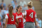 24 August 2014: Ohio State's Elly Gruber (5), Nicole Miyashiro (3), and Nikki Walts (4). The University of North Carolina Tar Heels hosted the Ohio State University Buckeyes at Fetzer Field in Chapel Hill, NC in a 2014 NCAA Division I Women's Soccer match. UNC won the game 1-0.