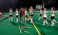 STANFORD CA - September 23, 2011:  Celebration during the Stanford vs Cal at vs Lehigh field hockey game at the Varsity Field Hockey Turf Friday night at Stanford.<br /> <br /> The Cardinal team defeated the Golden Bears 3-2.