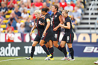 14 MAY 2011: USA Women's National Team forward Abby Wambach (20) is congratulated by teammates for scoring during the International Friendly soccer match between Japan WNT vs USA WNT at Crew Stadium in Columbus, Ohio.
