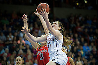 SPOKANE, WA - MARCH 30, 2013: Sara James looks for the score during the third round NCAA Championships game matching Stanford vs Georgia at the Spokane Arena. The Cardinal fell to the Bulldogs 61-59.