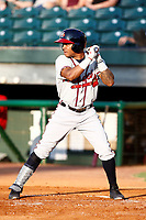 Mississippi Braves Luis Valenzuela (1) at bat during a game against the Chattanooga Lookouts on August 04, 2018 at AT&T Field in Chattanooga, Tennessee. (Andy Mitchell/Four Seam Images)