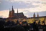 Prague Castle at night in Prague, Czech Republic.