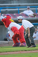 "Winston-Salem Dash Director of Entertainment Trey Kalny and ""Bolt"" perform Michael Jackson's ""Thriller"" between innings at Wake Forest Baseball Stadium August 9, 2009 in Winston-Salem, North Carolina. (Photo by Brian Westerholt / Four Seam Images)"