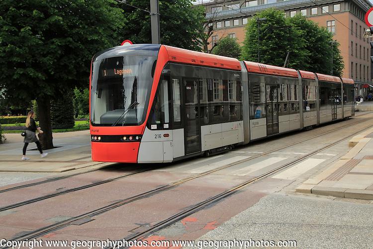 Light rail city transport system in city centre at Byparken stop, Bergen, Norway destination Laguna